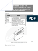 CÓDIGO de FALLA 111 Falla Interna Crítica Del Módulo de Control Electrónico - Dispositivo o Componente Inteligente Defectuoso