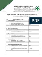 7.6.4.a Daftar Indikator Klinis Yang Di Gunakan Untuk Pemantauan Dan Evaluasi Layanan Klinis
