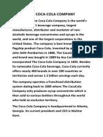 The Coca Cola Final Project