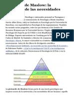 Pirámide de Maslow La Jerarquía de Las Necesidades Humanas