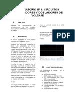 336568471 Laboratorio Nº 1 Circuitos Enclavadores y Dobladores de Voltaje
