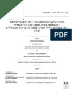 IMPORTANCE DE L'ENVIRONNEMENT DES PRIMATES EN PARC ZOOLOGIQUE ; APPLICATION À L'ÉTUDE D'UN TYPE D'ENCLOS