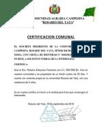 Certificacion Comunal Rosario Del Yata