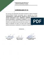 Comunicado 1 LP N°05-2019-AFSM-CE-Primera Convocatoria