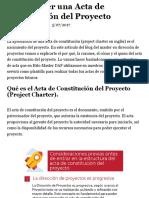 Como hacer una Acta de Constitución del Proyecto
