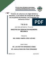 Analisis de Esfuerzos de Origen Termico y Mecanico, A Una Tuberia de Transporte de Vapor