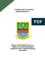 Peraturan Dan Tata Tertib Warga Rw 011