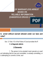 Legality of Warrantless Arrest Based on Reliable Info (Dangerous Drugs Cases)