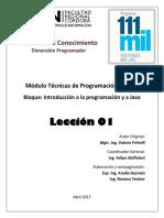 Técnicas de Programación - Leccion 01 Java