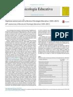 Vig Simo Aniversario de La Revista Psicolog a Educativa 1995 2015
