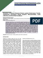 Evaluation of Selected Botanical Extracts against Subterranean Termite, Coptotermes formosanus Shiraki (Isoptera
