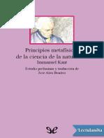 Immanuel Kant - Principios metafísicos de la ciencia de la naturaleza