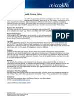 2016-06-03 Microlife Connected Health, Privacy Policy and Terms of Use
