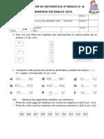 Evaluación  matemática  4° BÁSICO A-B Numeros decimales