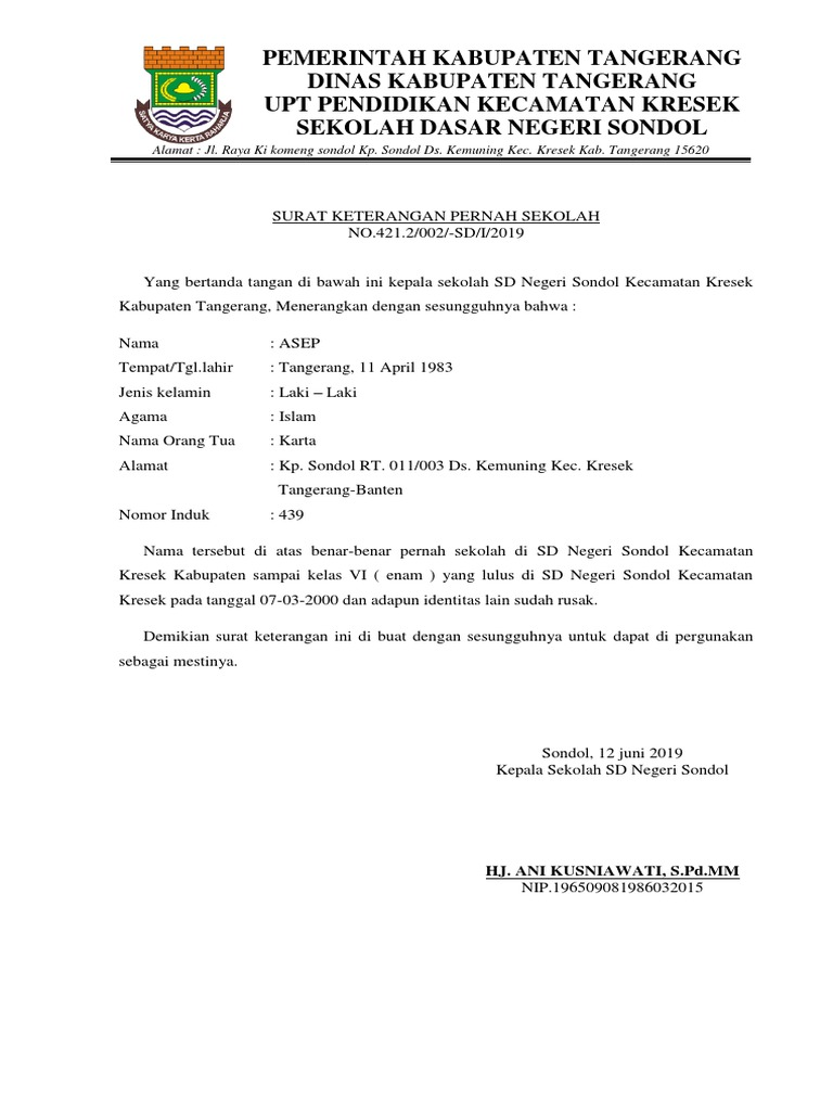 Contoh Kop Surat Dinas Pendidikan Kabupaten Tangerang ...