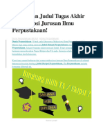 Kumpulan Judul Tugas Akhir Dan Skripsi Jurusan Ilmu Perpustakaan