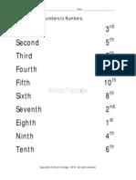 Matching-Ordinal numbers