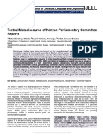 Textual Metadiscourse of Kenyan Parliamentary Committee Reports