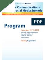 Ragan Communications Social Media Summit 2010 Microsoft Program