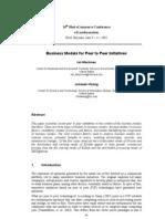Business Models for Peer to Peer Initiatives