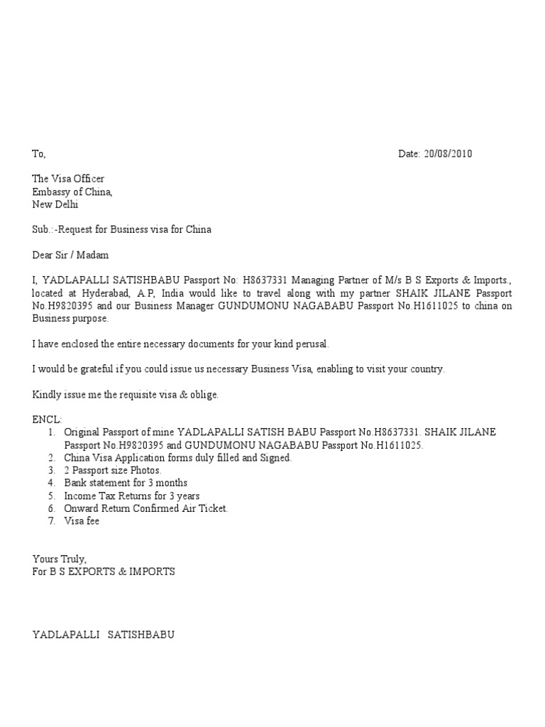 Writing A Letter In Chinese Format.  y Satish Babu China Visa Covering Letter