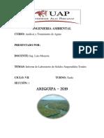 Informe de Solidos Suspendidos Totales