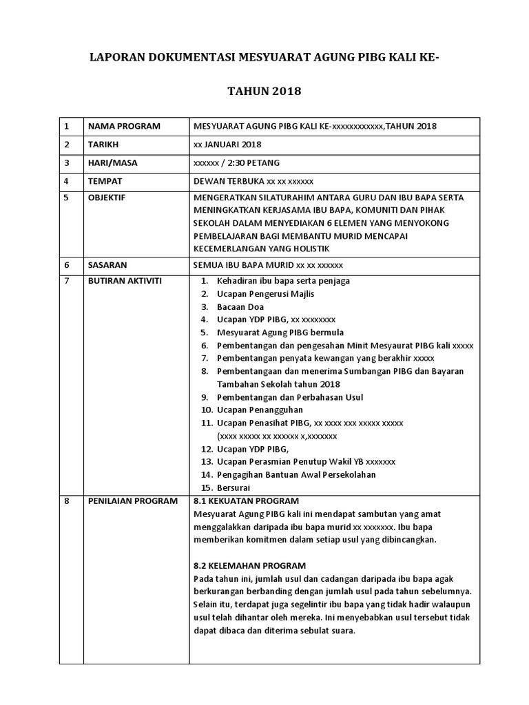 Laporan Dokumentasi Mesyuarat Agung Pibg Kali Ke 2018