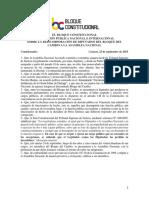 EL BLOQUE CONSTITUCIONAL SOBRE LA REINCORPORACIÓN DEL BLOQUE DEL CAMBIO A LA AN