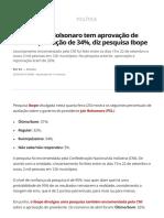 Governo Jair Bolsonaro Tem Aprovação de 31% e Reprovação de 34%, Diz Pesquisa Ibope _ Política _ G1