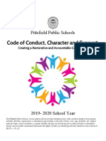Pittsfield Public Schools New Code of Conduct, Character and Support
