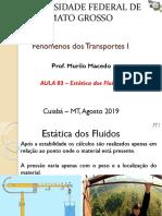 Aula 03 - Fenômenos de Transporte 1 - Estática Dos Fluidos