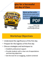 TAO Strategies for a Successful First Day of Class Workshop