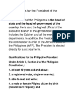 Qualifications of a Phillipine President