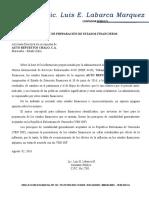 Auto Repuestos Chalo - Informe de Preparacion Edos Financieros 2016