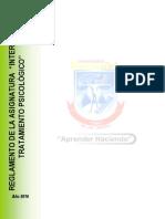 Reglamento de La Asignatura Intervencion y Tratamiento Psicologico 2016