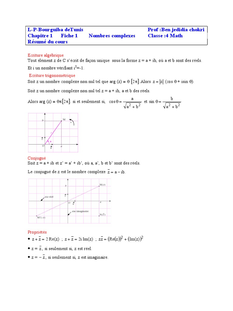 Nombres Complexes Nombre Complexe Concepts Mathematiques