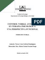Control Verbal Aversivo en Terapia Psicológica, Una Perspectiva Funcional - Galván (TESIS)