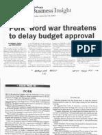 Malaya, Sept. 26, 2019, Pork word war threatens to delay budget approval.pdf