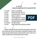 Calendar Evaluare Națională
