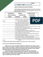 Health 7 1st Quiz #02 Health Concerns and Health Appraisal