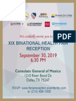 DATX - XIX Binational Health Fair Reception Invite