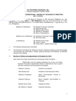 Minutes of the Organizational Meeting of the Board of Directors on April 11 2016