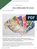 Provinces to Get Rs3.2 Trillion Under NFC Award - Pakistan - DAWN.com