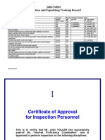 Inspection & Expediting Training Record (J Voller - 1712)