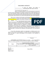 Treasurers Affidavit - Template