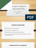 Lesson 2 Ungrouped Data Descriptive Statistics