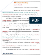 Phonetics and Phonology summary by SADIQ ABU AL-TABOQ