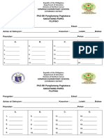 g4 Fililipino & English Answer Sheet