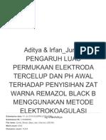 Aditya & Irfan jurnal Pengaruh Luas Permukaan Elektroda Tercelup Dan Ph Awal Terhadap Penyisihan Zat Warna Remazol Blac