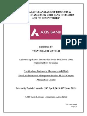 Axis Bank Internship Report Pdf Banks Banking